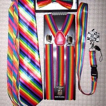 Unisex Rainbow Stripes Adjustable Bow tie,Neck Tie,Suspenders,Lanyard,Shoelaces9