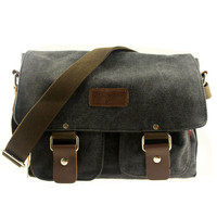 Men's Vintage Canvas Leather Shoulder Bag Messenger Travel School Briefcase Bag