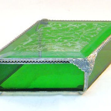Stained Glass Jewelry Box,  Keepsake Treasure Box, Emerald Green, St Patrick's Day Gift, Bridesmaid Gift