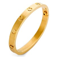 Justeel Jewelry Woman Gold Screw Stainless Steel Cuff Bangle Bracelet