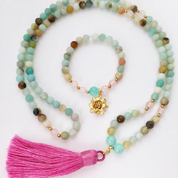Amazonite Mala Necklace, Mala Beads,Mala Necklace,Rose Quartz and Amazonite Mala Beads,Tassel Mala,Meditation Beads,108 Mala Beads,Mala,MAQT
