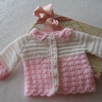 Baby Sweater Pink and White, Crochet Pattern PDF 12-034
