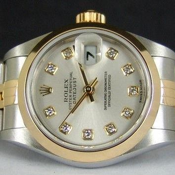 ROLEX - 26mm Ladies 18kt Gold & SS Date-Just Silver Diamond - 79163 SANT BLANC