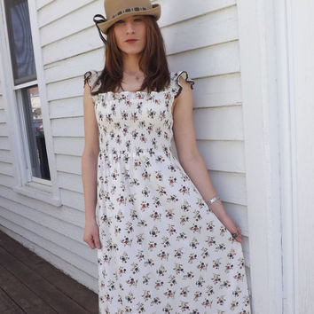 70s Smocked Summer Dress Hippie Floral Print Long Vintage XS S