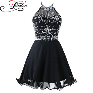 JAEDEN Beading Black Chiffon Cocktail Dresses Crystals Halter Neck A Line Sexy Backless Ruffles 2017 Sleeveless Mini Party Gowns