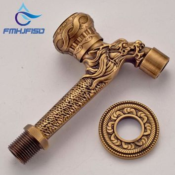 Free Shipping Luxury Antique Brass Dragon Carved Bathroom Wall Mounted Pool Faucet Tap 1 Lever