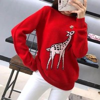 """""""Gucci"""" Fashion Cute Fawn Pattern Long Sleeve Knit Sweater Women Pullover Tops"""