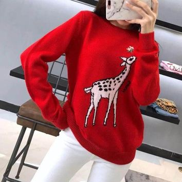 """Gucci"" Fashion Cute Fawn Pattern Long Sleeve Knit Sweater Women Pullover Tops"