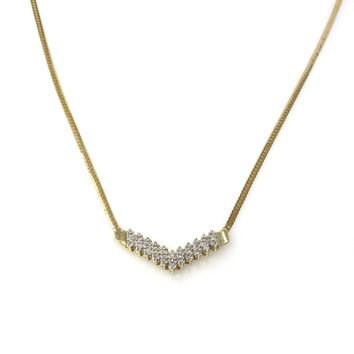 14k Gold Diamond Studded Chevron Necklace, Vintage, 1930s to 1980s