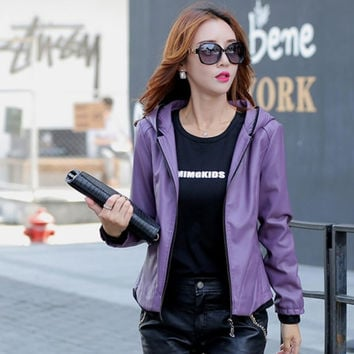 Korean Thin Genuine Leather Casual Jacket with Hood