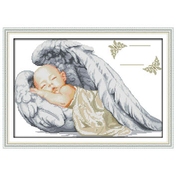 Little Angel Birth Certificate patterns Counted Cross Stitch 11 14CT Cross Stitch cartoon Cross Stitch Kit Embroidery Needlework