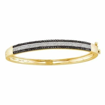 14kt Yellow Gold Women's Round Black Color Enhanced Diamond Bangle Bracelet 1-3-8 Cttw - FREE Shipping (US/CAN)