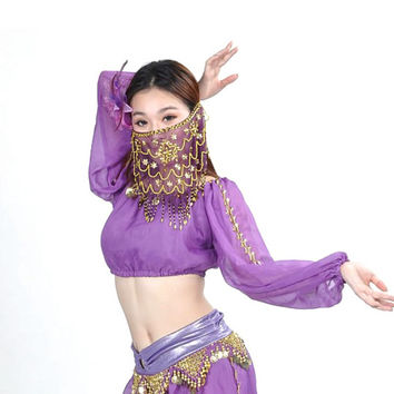Sexy Belly Dance Costume Bollywood Dancing Long Sleeved Tops Shiny Beautiful Bra
