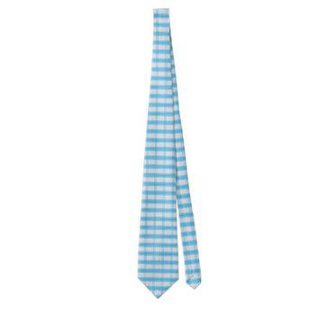 white square pattern with blue stripe tie