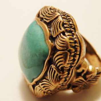 Barse Brass and Turquoise Semi Precious Natural Stone Detailed Large Chunky Ring Size 7