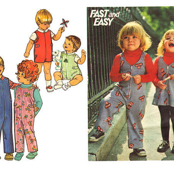 Pair 70s Vintage Sewing Patterns Toddler Jumpsuit by mysweetiepiepie