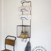 Towel Rack With Wire Basket/Shelf