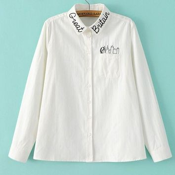 VONEB7T Fashion Casual White Long Sleeve Monogram Embroider Contracted T-shirt