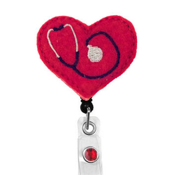 Red Stethoscope Badge Pull - Felt Badge Reel - Cute Badge Reels - Retractable ID Badge Clips - Nurse Gifts - RN Badge Holders