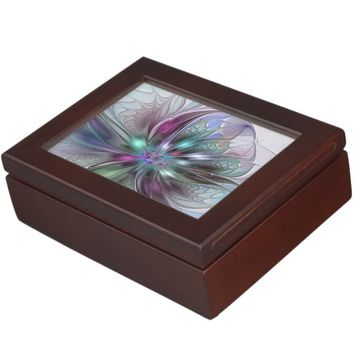 Colorful Fantasy, abstract and modern Fractal Art Keepsake Box