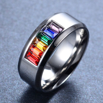 Mens Rainbow Silver /Titanium Ring