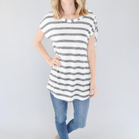 Charcoal Stripe Lace Up Top