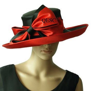 NEW design wide brim formal dress satin hat church hat sinamay hat with bow, 2 colors,black,red