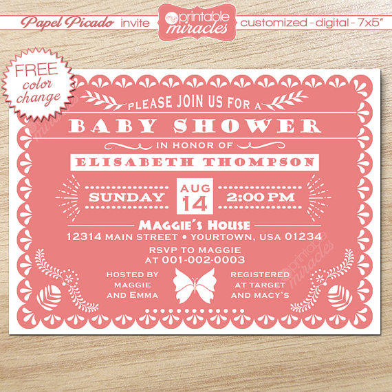 Papel Picado Invitation Pink Baby Shower From Myprintablemiracle