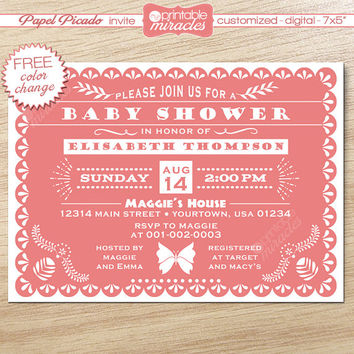 Papel picado invitation, pink baby shower invitation, Mexico fiesta invite card / customized digital printable file