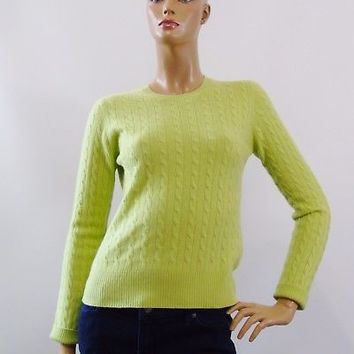 Kinross Cashmere Cable Knit Pullover Sweater Crew Neck Green Size M Light Weight