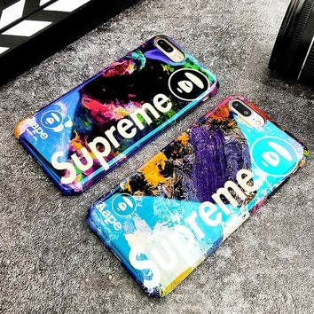 Supreme & Bape Aape New fashion letter floral print couple protective case phone case