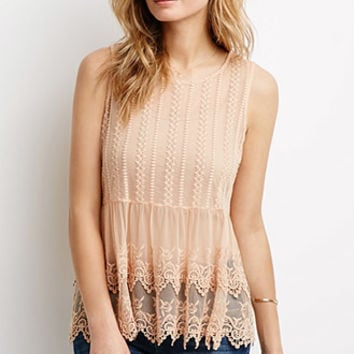Eyelet Mesh Layered Top