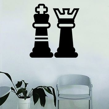 Chess Pieces Decal Sticker Wall Vinyl Art Wall Bedroom Room Home Decor Teen Inspirational Teen Kids Board Game Smart School King Queen