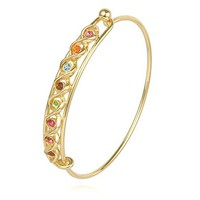 RUXIANG DNA Helix Science Bangle Multicoloured Birthstone Cuff Bracelet