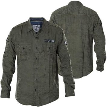Licensed Official AFFLICTION Mens Embroidered Button Down Shirt TOP NOTCH Biker UFC BKE Roar $88