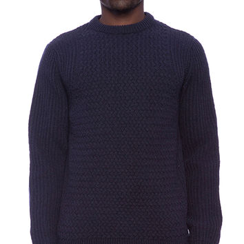 Norse Projects Kirk Cable Knit Sweater in Navy