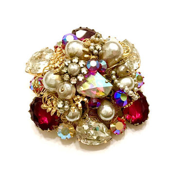 Original by Robert Floral Rhinestone Brooch, Red, AB, & Clear Stones, Faux Barque Pearl, Gold Tone Filigree, Large Vintage Gift for Her