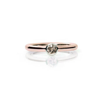 0.16ct Champagne diamond ring,  rose gold engagement ring, simple ring, bezel, solitaire, white gold, unique, diamond solitaire, modern