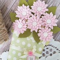 Mother's Day - Flower Pot Card - Love you Mom card - Customize - Love you Dad - Pink Daisy Flower pot card, Mother-  Dad - Mom