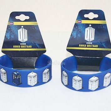 Licensed cool ONE BBC Dr Doctor Who Blue White Tardis Police  Box Rubber Bracelet Jewelry