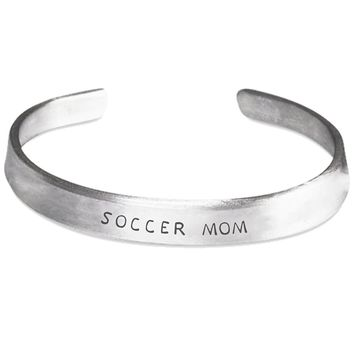 Soccer Mom Silver Hand-Stamped Bracelet - One Size Fits All - Made in USA