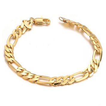 Men Jewelry Trendy 18K   Gold Plated 22 CM Thick Cuban Link Chain Bracelets Stamp Bracelet SM6