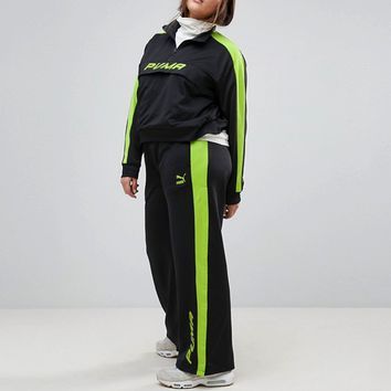 Puma Exclusive To ASOS Plus Track Pant In Black And Lime Green at asos.com