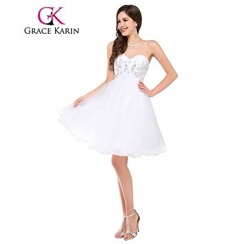 Grace Karin Sweetheart White Prom Dresses Short Organza Beaded Cocktail Party Dress Real Sample Robe De Cocktail Prom Dress 2017