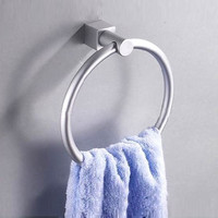 Aluminum Round Wall-Mounted Bathroom Towel Holder Towel Rings Towel Racks (Size: 16.5 cm, Color: Silver white) = 1705638404
