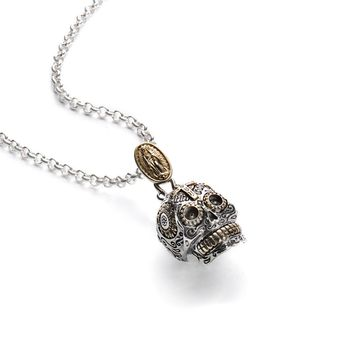 Large Sugar Skull Pendant Necklace