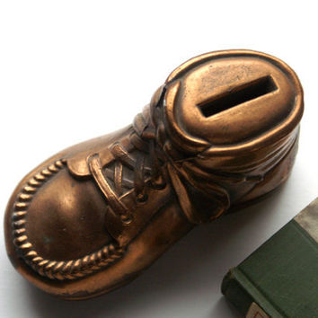 Vintage Copper Baby Shoe Bank