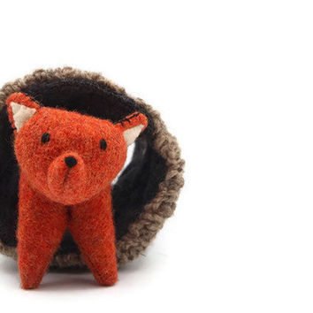 fox, red waldorf wool toy