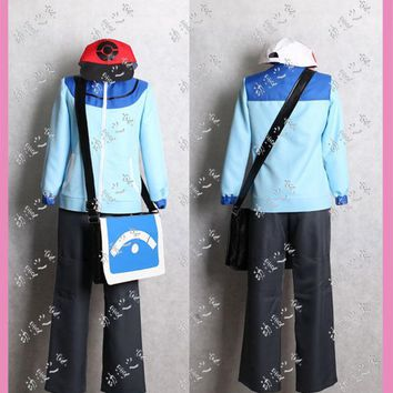 Pocket Monster Black and white  Touya Cosplay Costume with bag and gloves Customized Acceptable orderKawaii Pokemon go  AT_89_9