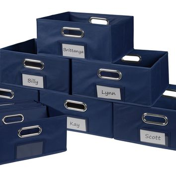 Niche Cubo Set of 12 Half-Size Foldable Fabric Storage Bins- Blue
